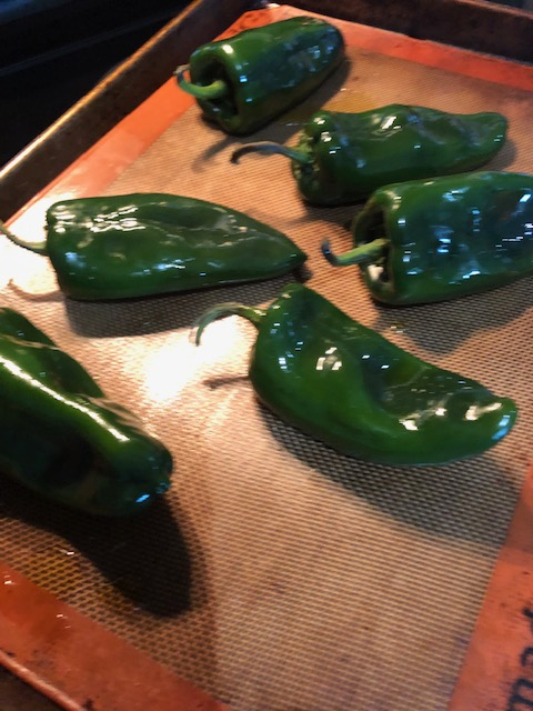 Pre-roasted poblano peppers
