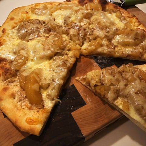 Apple Pie Pizza on cutting board