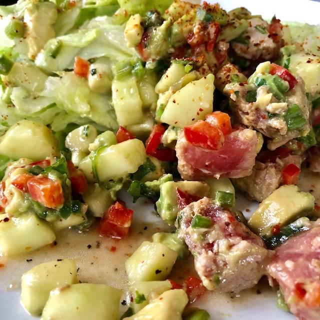 Tuna tartare, red peppers, cucumbers